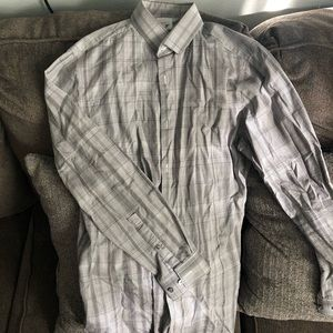 Gray and white dress shirt 15-15.5